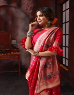 red pure soft silk fabric weaving rich pallu work wedding