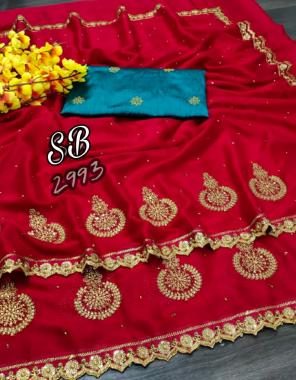 red saree - rangoli blooming fancy   blouse - banglori silk contrast matching fabric embroidery work festive
