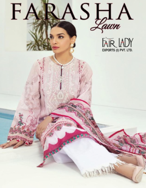 peach top - lawn cotton print with heavy big embroidery patch each suit | bottom - cotton lawn dyed | dupatta - pure karachi lawn mul fabric embroidery + printed work party wear