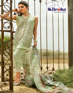 green top - super net | bottom + inner - santoon | dupatta - organza | type -semi stitch | size - fit upto52 | length - 45 fabric embroidery + sequence work running