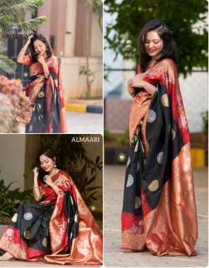 black soft silk  fabric weaving work party wear