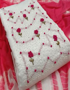 white  top - semi model | bottom + inner - santoon | dupatta - nazmin  fabric handwork work festive