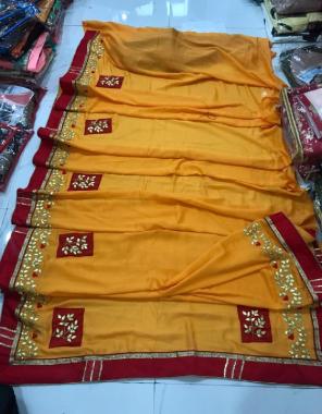 yellow vichitra fabric gotta patti work wedding