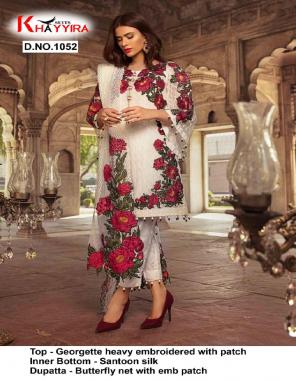 white  top - georgette | bottom + inner - santoon | dupatta - fancy fabric embroidery + sequence  work running