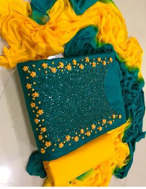 rama green top -semi model |bottom + inner - santoon | dupatta - nazmin fabric handwork work ethnic