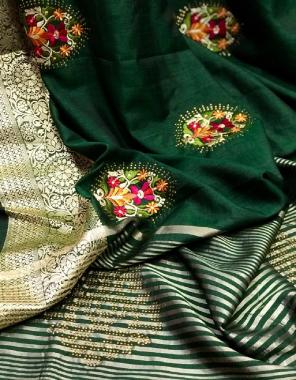 green fabric - pure viscose silk   blouse - two tone matching  fabric jacqaurd weaving embroidery work ethnic