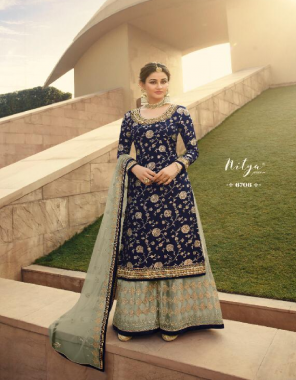 blue  top - heavy dola silk jacqaurd length -max up to 44 size-max up to 58 | plazzo - heavy butterfly net length size - max up to 42 type - full stitch readymade | dupatta - heavy butterfly net | type - semi stitch  fabric embroidery multi thread stone work wedding