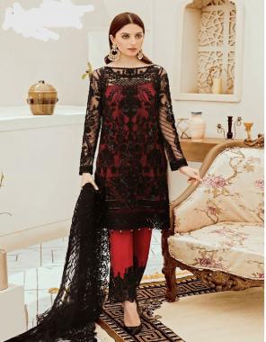 black  top - georgette net | bottom + inner - santoon | dupatta - net fabric embroidery  work casual