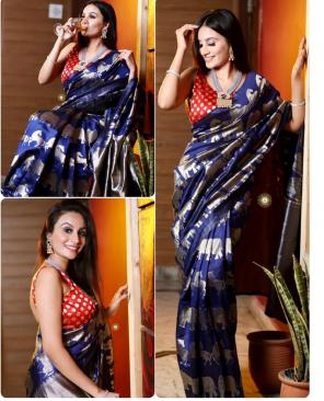 blue lichi silk fabric weaving work ethnic