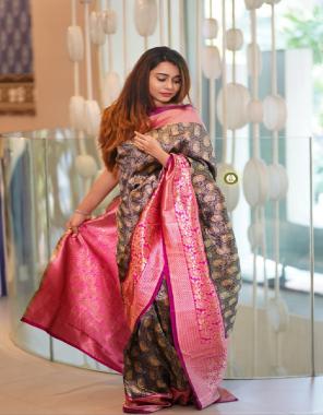 blue + dark pink banarasi silk fabric jacqaurd  work party wear
