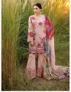 light pink top -luxury satin cotton | bottom - satin lawn | dupatta - tabby silk fabric embroidery + printed work wedding