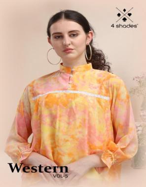 orange  georgette  fabric printed work ethnic