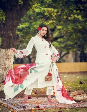white  top - pure georgette | inner - pure santoon | bottom - pure cotton satin stretchable | dupatta - chiffon digital print  fabric embroidery work wedding