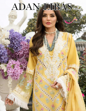 yellow top - cambric cotton with heavy embroidery | botttom - pure cotton | dupatta -naznin with heavy embroidery chiffon with digital print  fabric embroidery work running