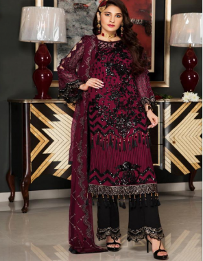 red black  top -georgette with heavy embroidery lace | bottom + inner - dull santoon with embroidery patch | dupatta - nazmeen with heavy embroidery  fabric embroidery work festive