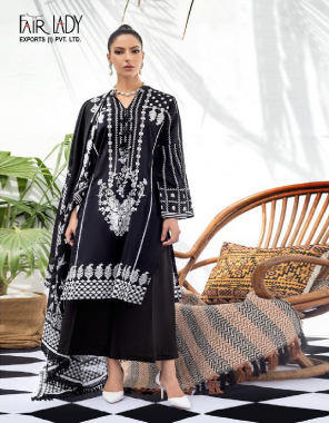 black top - lawn cotton printed with heavy big embroidery patch each suit | bottom - cotton lawn dyed | dupatta - pure karachi lawn mul digital print chiffon fabric printed work running