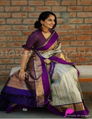 light grey soft traditional kanjivaram silk | blouse - heavy weaving work with contrast blouse  fabric weaving work ethnic