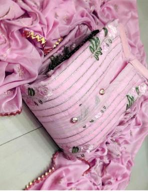 pink top - 2.20 chanderi | bottom2m + inner1.50m - santoon | dupatta - nazmin | size - free size upto 42 semi stitch  fabric embroidery  work casual