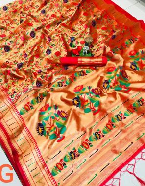 red pure paithani silk fabric weaving jacqaurd  work ethnic