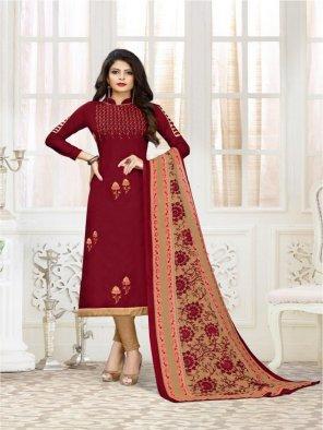 maroon muslin fabric embroidery work casual