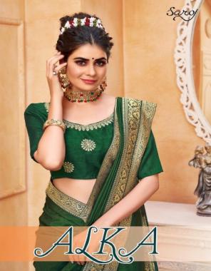 green fabric - dola silk with banarasi boder | blouse - vichitra silk and work fabric plain work running
