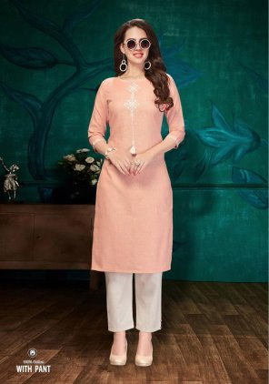 peach cotton fabric embroidery work casual