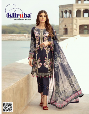 blue top - jam silk cotton with beautiful print all over front and back printed   bottom - semi lawn   dupatta - super cotton   type - semi stitch   size - fits upto  56 fabric embroidery + printed work wedding