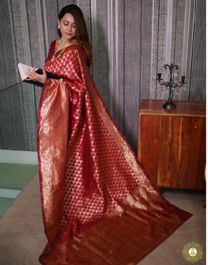 red banarasi silk fabric jacqaurd weaving work running