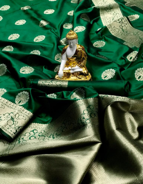 green pure lichi silk fabric weaving jacqaurd  work ethnic