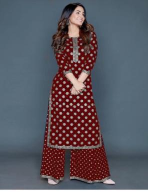 marron rayon kurti length - 42 +   rayon palazzo length - 38+ fabric foil print  work ethnic