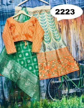 orange  lehenga - brocade with cancan inner semi stitch size upto 42 length - 42   blouse - pure silk designer full stitch size upto 42   dupatta - pure banarasi silk fabric jacqaurd  work wedding