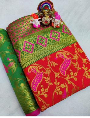 red pure soft lichi silk fabric weaving  work running