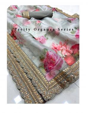 grey organza silk fabric digital print  work party wear
