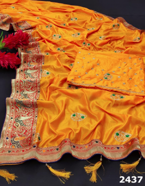 yellow sana silk fabric embroidery stone work daliy wear