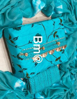 sky top  - pure cotton 2.25m   bottom - pure cotton 2.50m   dupatta - pure cotton 2.25m fabric printed work daliy wear