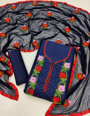 blue  top -cotton 1.9m | bottom - cotton 2m | dupatta - nazmin aari work 2.1m fabric aari work work party wear