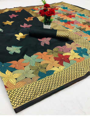 black lichi silk fabric weaving zari work festive