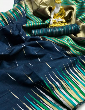 blue  pure puran silk fabric weaving jacqaurd  work ethnic