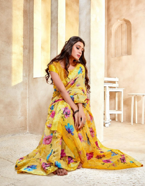 yellow linen fabric printed work party wear