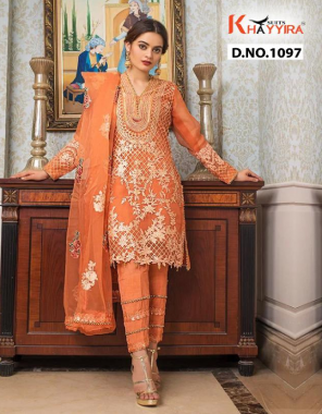 orange  top  -fox georgette heavy embroidery | inner - dull santoon | bottom - dull santoon with patch embroidery | dupatta - organza heavy embroidery with lace fabric embroidery work daliy wear