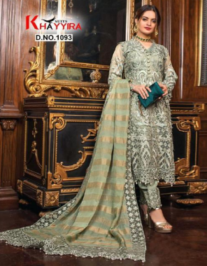 mehndi  top -fox georgette embroidery | bottom + inner - dull santoon | dupatta - heavy nazmeen embroidery fabric embroidery work party wear