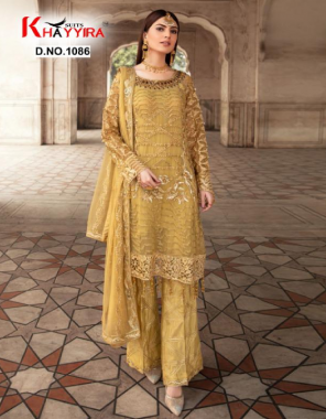 yellow top -fox georgette embroidery | bottom + inner - dull santoon | dupatta - heavy nazmeen embroidery fabric embroidery work festive