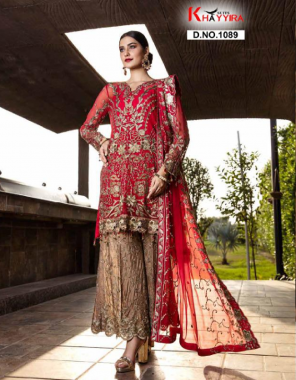 red top -fox georgette embroidery   bottom + inner - dull santoon   dupatta - heavy nazmeen embroidery fabric embroidery work casual