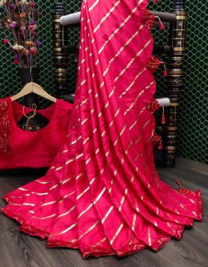 pink saree - dola silk lahriya foil print | blouse - full stitch 38+ margin fabric lehriya work wedding