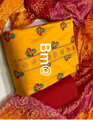 yellow top - glace cotton | bottom - cotton | dupatta - chinon bandhej | type -semi stitch fabric multi work casual
