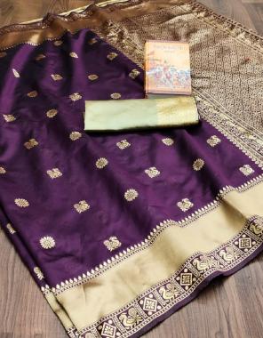 purple  saree -soft traditional kanjivaram border lichi silk   blouse- beautiful heavy weaving border zari pattu fabric weaving jacqaurd  work ethnic