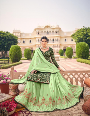green top - pure silk jacqaurd long top with jacqaurd sleeve with santoon inner | bottom - georgette with santoon inner with four side full embroidery work with skirt stitch | dupatta - pure chinon silk heavy embroidery work fabric embroidery work casual