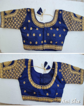 nevi blue  fantam silk fabric embroidery work casual
