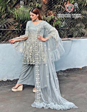 light rama top - heavy net | bottom + inner - santoon | dupatta - net | size - 46(3xl) fabric embroidery  work wedding