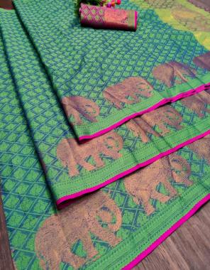 rama green heavy jacqaurd  fabric jacqaurd  work party wear